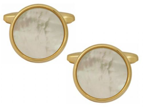 Cufflinks Round White Mother Of Pearl Gold Plated